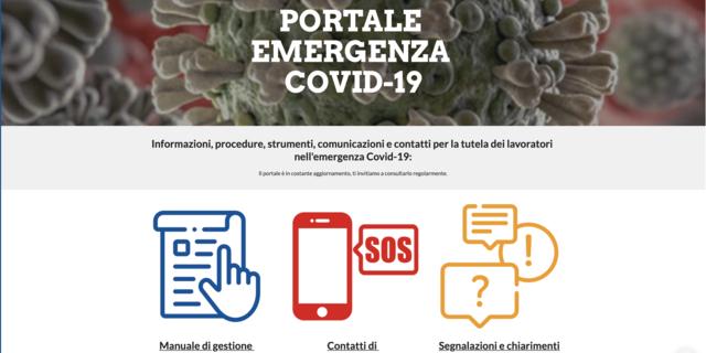Portale Emergenza Covid-19, per uso interno e comunicazioni con il personale